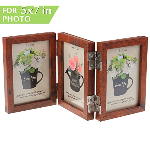 CECIINION Wood Folding Photo Frame Triple Duplex Hinged Picture Frames With Glass Front, Fit For Stands Vertically on Desk Table Top, 6 Photos Shows For 5x7in photographs