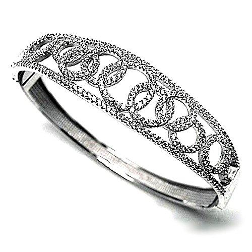 Bracelet plaqué 925m bracelet en argent rhodié Loi de zircone cubique [AB0920]