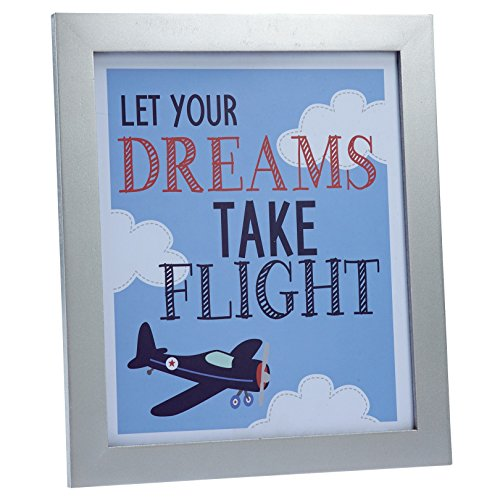 Carter's Take Flight Airplane/Cloud Framed Nursery Wall Art/Decor, Blue, Navy, Grey, (Flight Tapestry Wall)