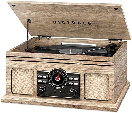 Victrola 4-in-1 Nostalgic Bluetooth Record Player with 3-Speed Record Turntable and FM Radio, Farmhouse Oatmeal