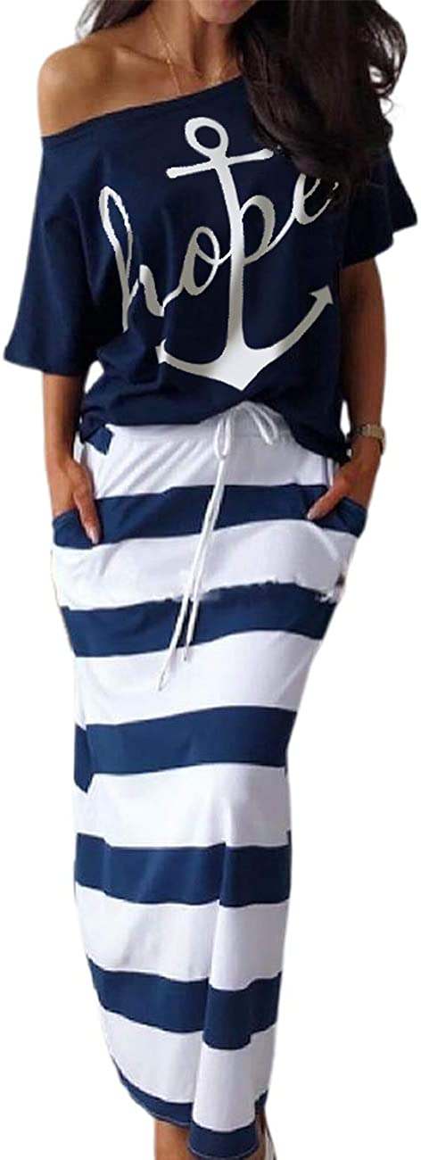 CHICME 2PCS Women Fashion Boat Anchor Print T-Shirt & Striped Skirt Set