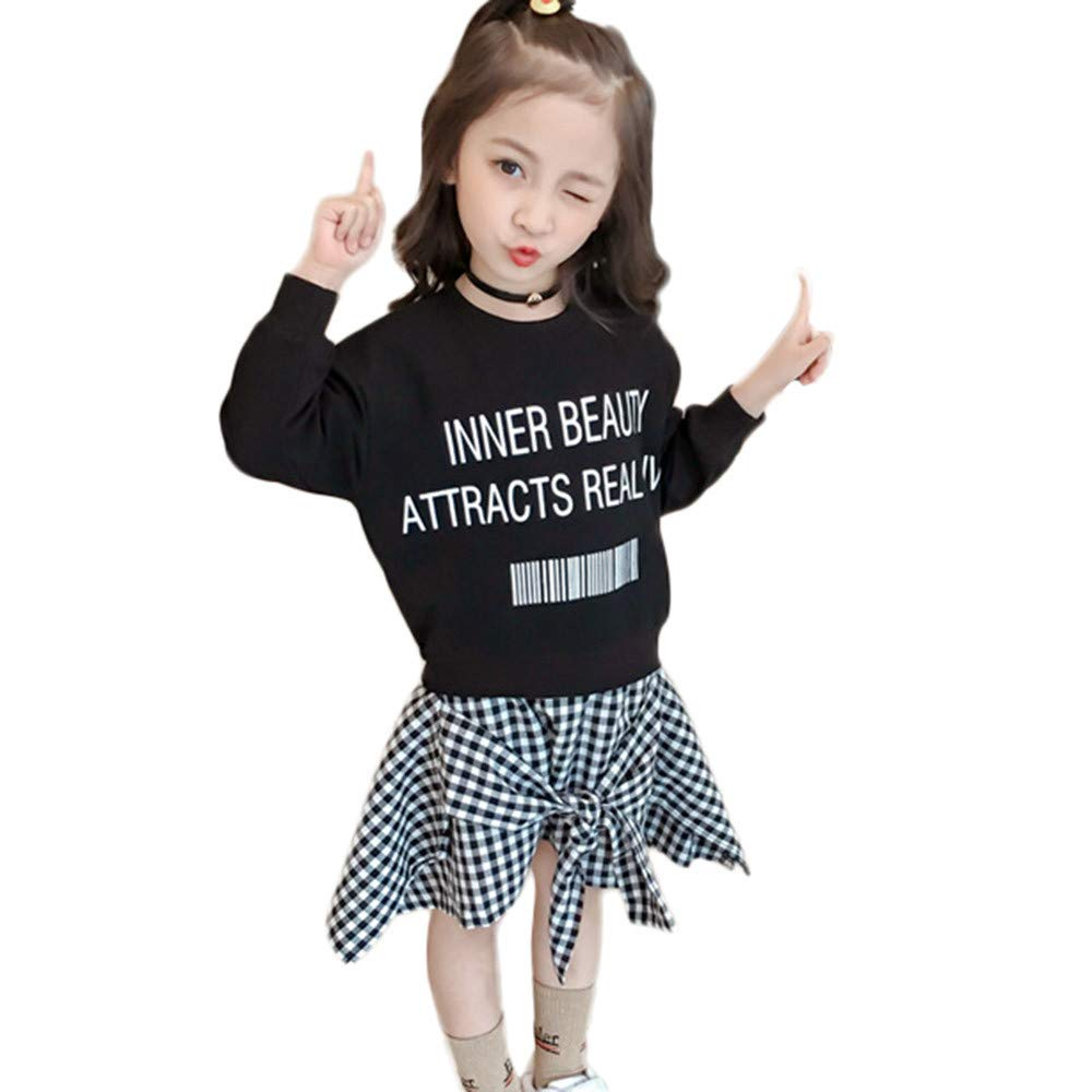 KONFA Teen Toddler Baby Girls Letter One-Piece Dress,for 1-6 Years,Little Princess Plaid Skirt Winter Clothing Set