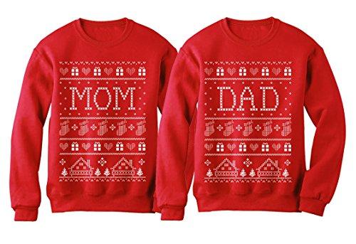 Mom & Dad Matching Ugly Christmas Sweatshirts Set Great Xmas Gift for Parents Women Sweatshirt Red Small/Sweatshirt Red Medium (Maternity Xmas Jumper)