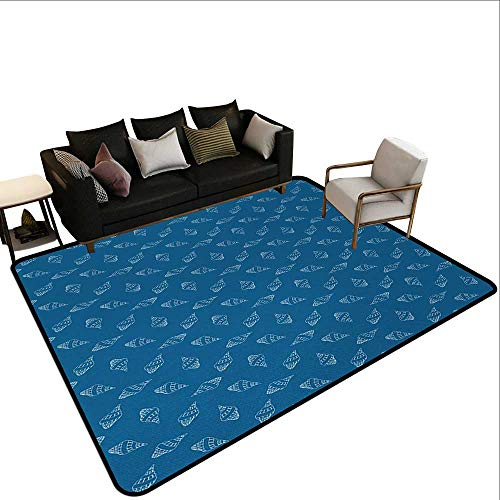 (Area Rugs Blue and White,Abstract Nautical Pattern with Hand Drawn Style Seashells Spiral Mollusk,Blue and White,for Living Room Bedrooms Kids Nursery Home Decor 5'x)