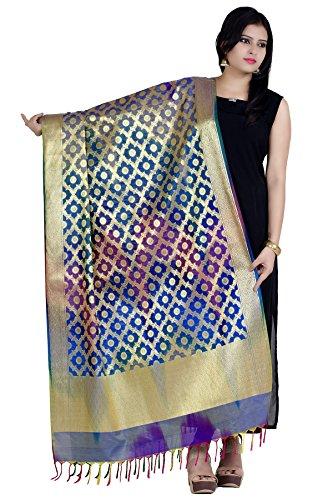 Chandrakala Women's Handwoven Blue Cutwork Brocade Banarasi Dupatta Stole Scarf,Free Size (D151BLU)