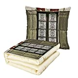 iPrint Quilt Dual-Use Pillow Shutters Decor European French Window with Antique Open Shutters Print Vintage Style Home Decor Multifunctional Air-Conditioning Quilt Brown White