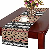 InterestPrint Striped Leopard Skin, Modern Animal Prints Table Runner Cotton Linen Cloth Placemat for Office Kitchen Dining Wedding Party Banquet 16 x 72 Inches