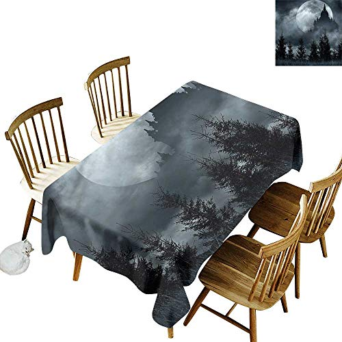 Water Resistant Table Cloth Halloween Magic Castle Design Party Decorations Table Cover Cloth 60