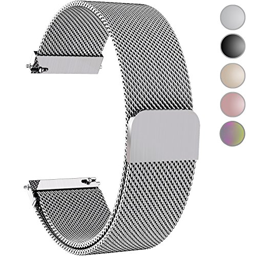 Fullmosa Compatible Gear S3 Bands, Milanese Loop 22mm Watch Band Quick Release Compatible Samsung Gear S3 Frontier/Classic/Huawei Watch 2 Classic Band, Silver by Fullmosa