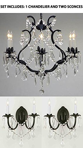 "3pc Lighting Set - WROUGHT IRON CRYSTAL CHANDELIER LIGHTING H 19"" W 20"" and 2 Wall Sconces"
