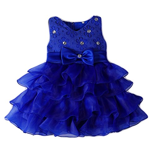 Girl Dress Kids Ruffles Lace Party Wedding Dresses Embroidered One Year Old Size 12-18M Baby Girls Cake Ball Gown Sky Blue Birthday Graduation Tulle Special Occasion Tops Infant Light (Blue 02 L)