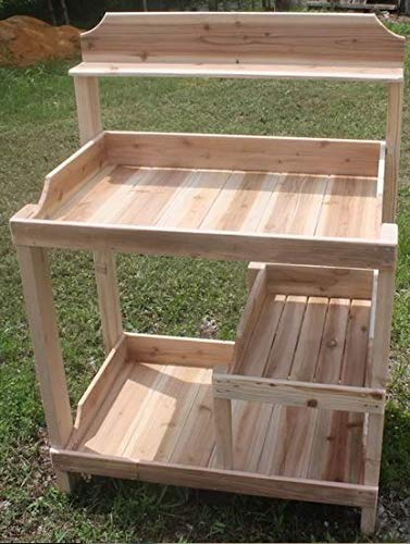 (Potting Table-Potting Benches for Outside- Western Red Cedar Wood with Three Shelves - If You Love to Garden and to Plant, This is The Perfect Potting Bench for You)