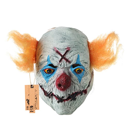 (Hyaline&Dora Halloween Creepy Clown Mask With yellow Hair for Adults,Halloween Costume Party Props Masks (yellow)
