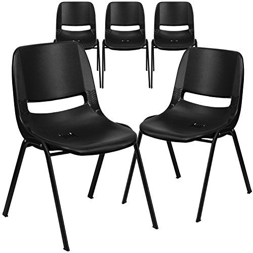 Flash Furniture 5 Pk. HERCULES Series 880 lb. Capacity Black Ergonomic Shell Stack Chair