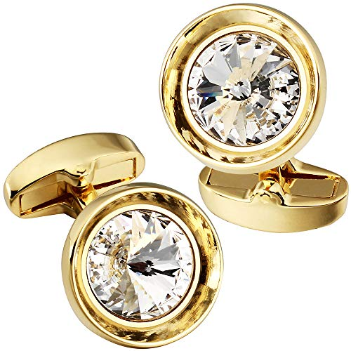(HAWSON Cufflinks for Men-Fashion Gold Color with White Swarovski Crystal Men French Shirt Cufflinks for Regular Weeding)