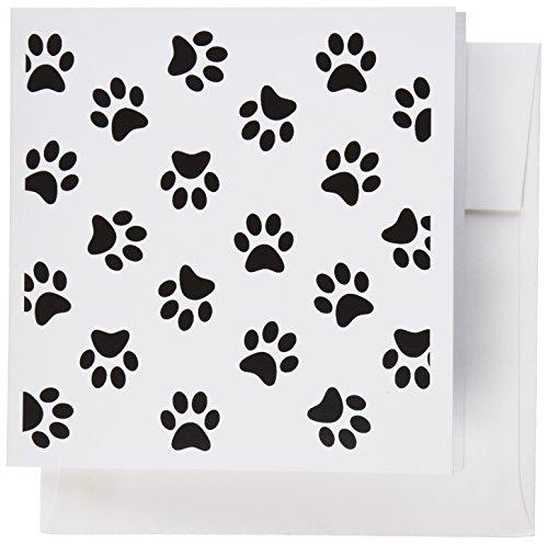 Patterns Print Animal (3dRose Paw print pattern - cute cartoon animal eg dog or cat footprints - Greeting Cards, 6 x 6 inches, set of 6 (gc_161521_1))