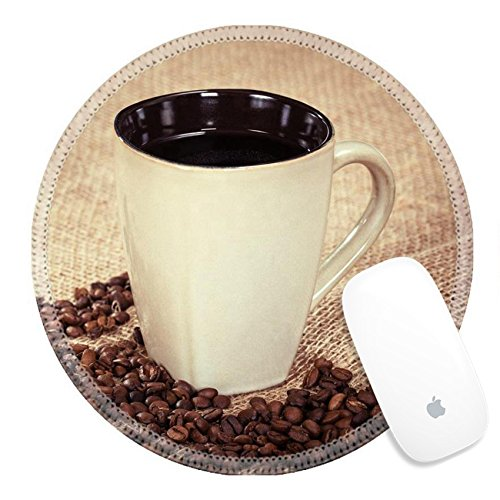 Luxlady Round Mouse Pad Natural Rubber Mousepad 30650084 Cup of black coffee and coffee beans on burlap background shallow depth of field vintage filter effects