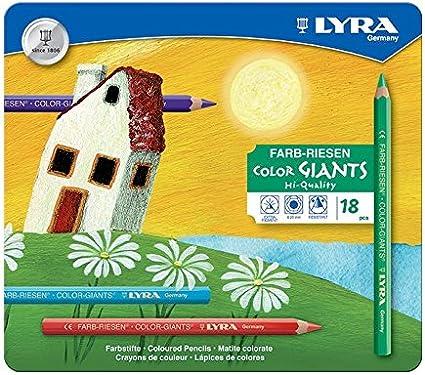 LYRA 3941181 Color-Giants - Caja metálica con 18 lápices de colores de tamaño grande [Importado de Alemania]: Amazon.es: Juguetes y juegos