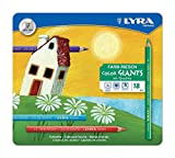 LYRA Color-Giants Lacquered Colored Pencils, 6.25 Millimeter Cores, Set of 18 Pencils, Assorted Colors (3941181)