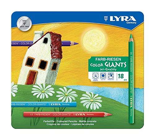 LYRA Color-Giants Lacquered Colored Pencils, 6.25mm Cores, Set of 18, Assorted Colors (3941181)