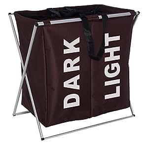 Wenko 3440012100 - Cesto para colada con 2 compartimentos de poliéster y aluminio (59 x 57 x 38 cm), color marrón oscuro