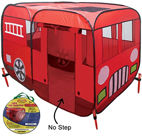Large Children Fire Engine Truck Pop-up Playhouse Play Tent (with No-Step) at Front Door for Easy Access of Toddlers Boys Girls Kids to Pretend to be Fireman Sam, Car Tent Can Use Indoor or Outdoor