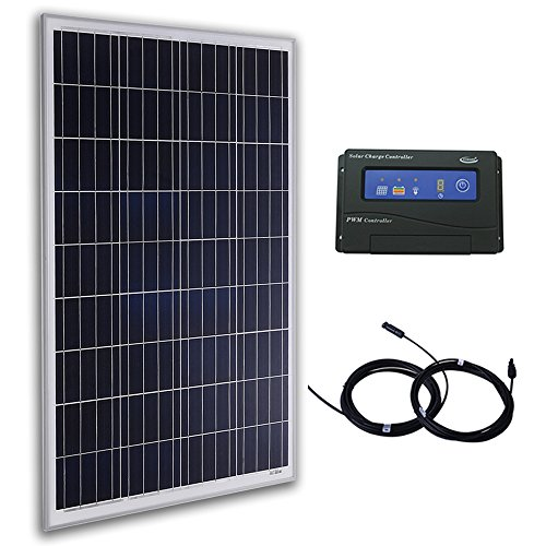 Komaes 100 Watts 12 Volts Polycrystalline Solar Bundle Kit with 20A PWM Charge Controller + 20ft MC4 Connectors by KOMAES