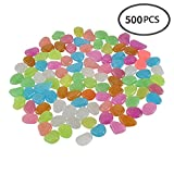 [500 Pcs 2.5lb] Glow in the Dark Stones,Fish Tank Aquarium Decoration Gravel Rocks,Garden Glowing Pebbles Luminous Stones for Outdoor,Walkway,Window,Yard Grass,Backyard Driveway Décor in Colorful