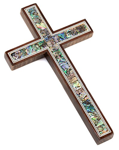 Leolana handmade Wall Cross - inlaid with Mother of Pearl & Paua Shell (8.5