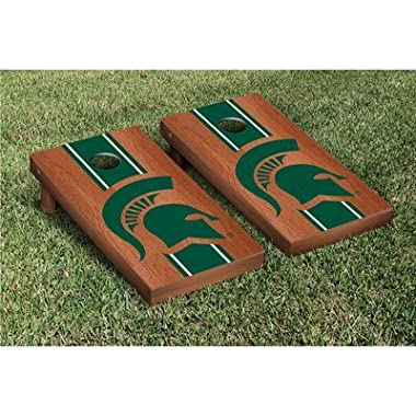 Michigan State Spartans Cornhole Game Set Rosewood Stained Stripe Version