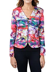 Joseph Ribkoff Multicoloured Pattern Zip V-Neck Coverup Jacket Style 171717