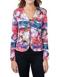 Joseph Ribkoff Multicoloured Pattern Zip V-Neck Coverup Jacket Style 171717