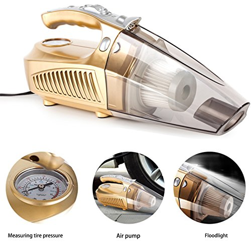 Hand-Held Car Vacuum Cleaner, HUANZHAN Wet and Dry Dual - Use 12V 120W 4 in 1 Multifunction with LED Lamp, Tire Pressure Measuring and Pump