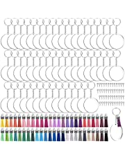 Duufin 250 Pcs Acrylic Transparent Circle Blanks Set with 2 inches Acrylic Circle Disc, Key Rings with Chain, Jump Rings, Keychain Tassels and Screw Eye Pins(50 Pcs of each) for DIY Keychain Crafting