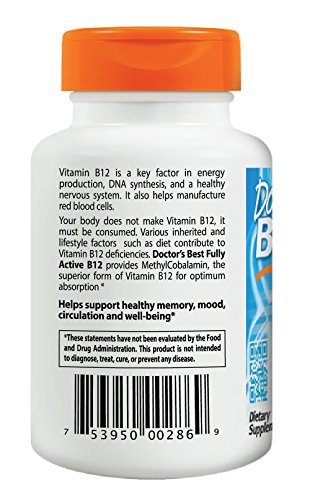 Doctor's Best Fully Active B12 1500 Mcg Vegetarian Capsules