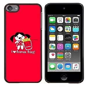 TECHCASE---Cubierta de la caja de protección para la piel dura ** Apple iPod Touch 6 6th Touch6 ** --El amor no deseado divertido Corazón Alimentos rojo de la historieta