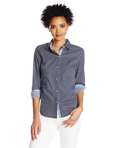 Nautica Women's Printed Stretch Long Shirt with Chambray Trim Sleeve, Navy Seas Large (Drapes Nautica)