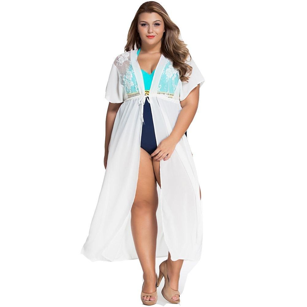 Erica Frauen Strand Lose Kimono Cover-Up Spitze Chiffon Patchwork Strickjacke für Bikini