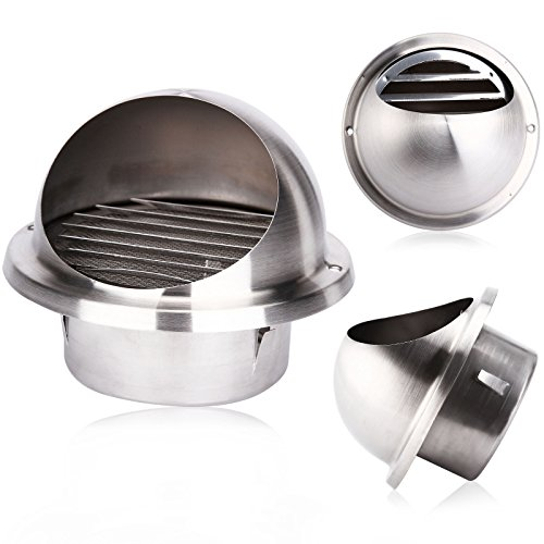 Stainless Steel Wall Air Vent Metal Cover Outlet Exhaust Grille 150mm (Air Hose King)