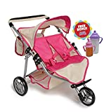 Twin DOLL Jogger Stroller with Diaper Bag, Off white/Pink designed (Bitty Twins) by Exquisite Buggy