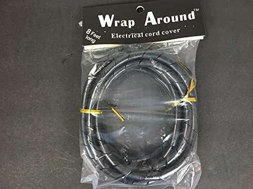Wrap Around Electrical Cord Cover Detangler for Clipper, Trimmers, Dryers, Irons Different Colors (Black)