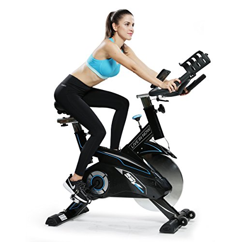 L NOW Indoor Cycling Bike – Professional Home Cardio Gym Sports HIIT Training System with Pulse and LCD Display(Black)