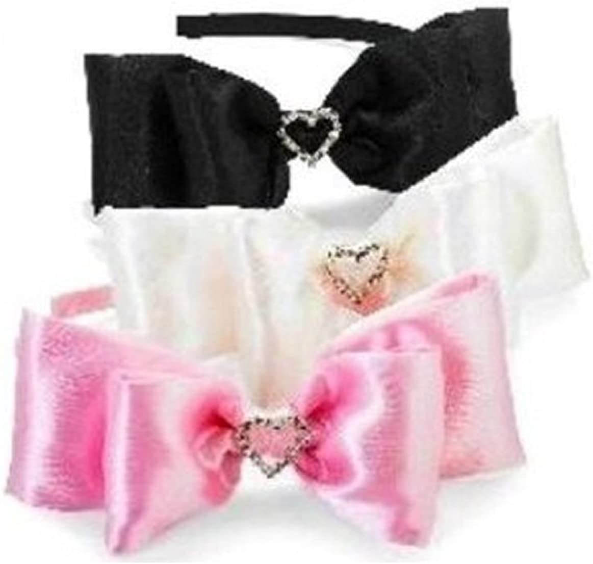 Mud Pie Pink Satin Bow w//Jeweled Heart Leather Shoes