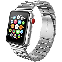 SWEES Stainless Steel Metal Bands Compatible iWatch 42mm 44mm Apple Watch Series 4, Series 3, Series 2, Series 1 Sports & Edition, Replacement Link Strap Double Button Butterfly Folding Clasp, Silver