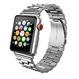 Apple Watch Band 42mm Stainless Steel, Swees iWatch Metal Link Bracelet for 42mm Apple Watch Series 3 , Series 2, Series 1, Sports & Edition, with Double Button Butterfly Folding Clasp, Silver