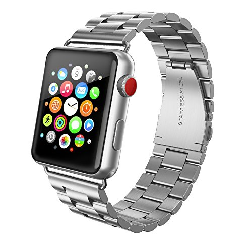 (SWEES Stainless Steel Metal Bands Compatible iWatch 42mm 44mm Apple Watch Series 4, Series 3, Series 2, Series 1 Sports & Edition, Replacement Link Strap Double Button Butterfly Folding Clasp, Silver)