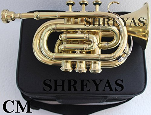 B Flat Gold Brass Pocket Trumpet with Case + Mouth Piece, Valve oil, A Pair Of Gloves, Soft Cleaning Cloth shry031 by SHREYAS