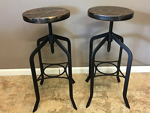 Set of 2| Reclaimed Wood Counter/Bar Height Stool with Swivel Seat | Industrial Urban Bar Stool