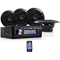 Pyle Marine Stereo Receiver & Speaker Kit   Weather Band AM/FM Radio Headunit   (4) Waterproof 6.5 Speakers   MP3/USB/SD/AUX   Single DIN   4 x 50 Watt (PLMRKT14BK)