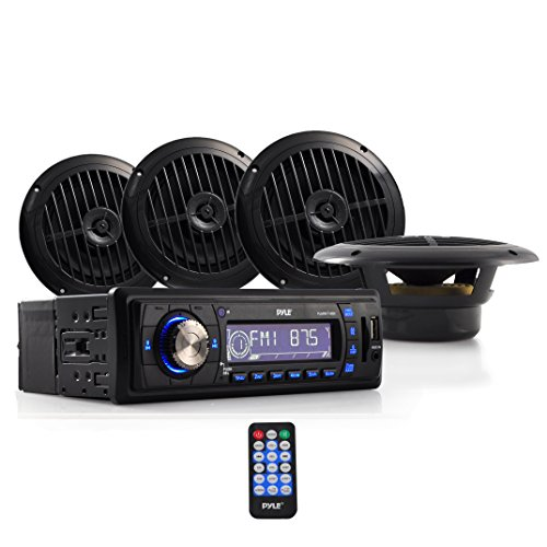 Marine Headunit Receiver Speaker Kit - In-Dash LCD Digital Stereo w/ AM FM Radio System 6.5'' Waterproof Cone Speakers (4) MP3/USB/SD Readers Aux Input Single DIN & Remote Control - Pyle PLMRKT14BK